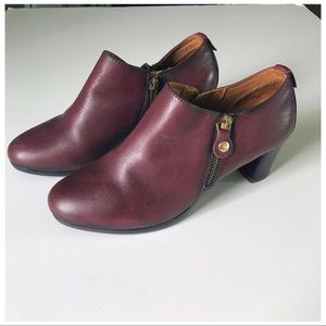 Pikolinos Leather Burgundy Maroon Booties Sz 38